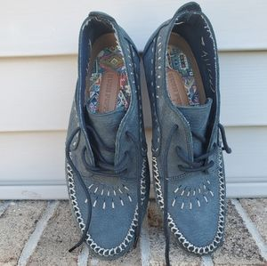 Hush Puppies 8N Moccasin Ankle Shoes Blue …